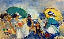 **Martha Walter 1875-1976 (American) Beach scene oil on canvas mounted on cardboard