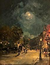 **Konstantin Korovin 1861-1939 (Russian) Urban landscape at night oil on canvas