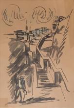 David Hendler 1904-1984 (Israeli) Street scene watercolor on paper