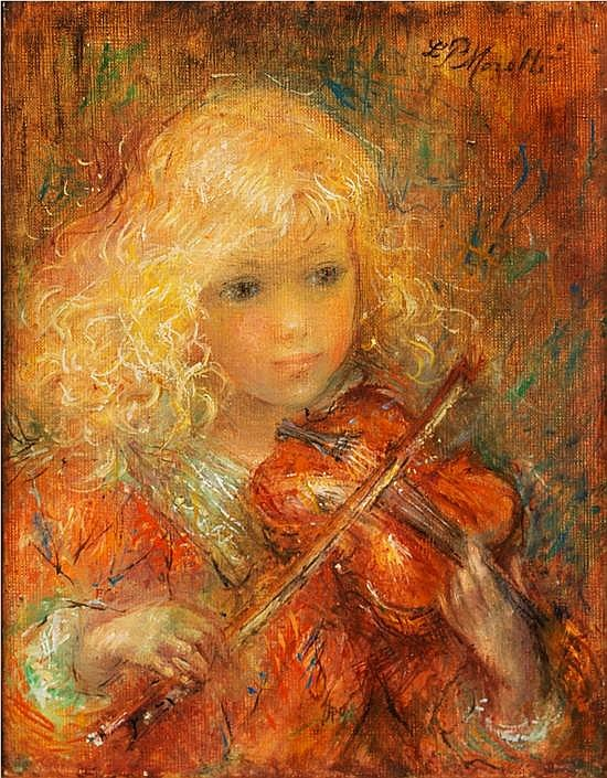 **Lucien Philippe Moretti 1922-2000 (French) Jeune fille au violin oil on canvas