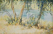 **Shmuel Charuvi 1897-1965 (Israeli) Kinneret oil on canvas
