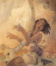 Abel Pann 1883-1963 (Israeli, Latvian) David and the harp, 1957 pastel crayons on paper
