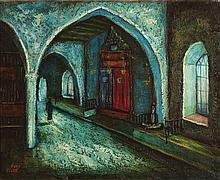**Moshe Castel 1909-1991 (Israeli) Synagogue scene, Safed, 1940's oil on canvas