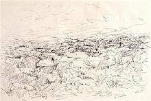 Anna Ticho 1894-1980 (Israeli) Landscape pen on paper