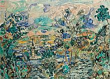 Menachem Shemi 1897-1951 (Israeli) Safed landscape oil on canvas