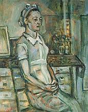 Menachem Shemi 1897-1951 (Israeli) Woman in the kitchen, c. 1940 oil on canvas