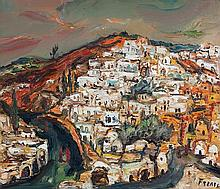 Yitzhak Frenkel Frenel 1899-1981 (Israeli) Safed oil on canvas