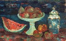 **Yitzhak Frenkel Frenel 1899-1981 (Israeli) Nature morte à la coupe et au vase oil on masonite