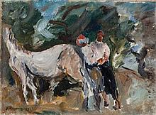 Joseph Kossonogi 1908-1981 (Israeli) Horse and a couple, 1925 oil on canvas