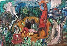 Menachem Shemi 1897-1951 (Israeli) Women in the village oil on canvas