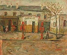 Moshe Castel 1909-1991 (Israeli) Garage oil on paper mounted on cardboard