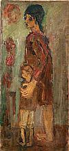 Moshe Mokady 1902-1975 (Israeli) Woman and child oil on canvas