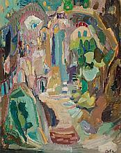 Mordechai Levanon 1901-1968 (Israeli) Safed, 1964 oil on canvas