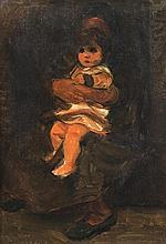 Pinchas Litvinovsky 1894-1984 (Israeli) Grandmother and child, 1930's oil on canvas