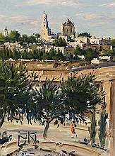 **Ludwig Blum 1891-1975 (Israeli) View of the Old city, 1959 oil on canvas
