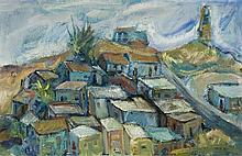 **Menachem Shemi 1897-1951 (Israeli) Landscape oil on masonite