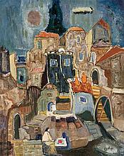 **Mordechai Levanon 1901-1968 (Israeli) Safed oil on canvas