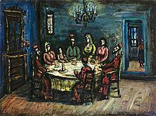 **Moshe Castel 1909-1991 (Israeli) Shabbat meal oil on canvas