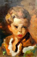 **Luigi Corbellini 1901-1968 (Italian) Portrait of a young boy oil on canvas