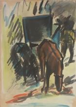 David Hendler 1904-1984 (Israeli) Horse in landscape watercolor on paper