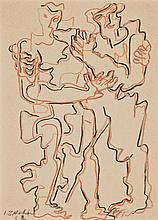 Ossip Zadkine 1890-1967 (Russian, French) Two figures, 1963 color pencil on paper