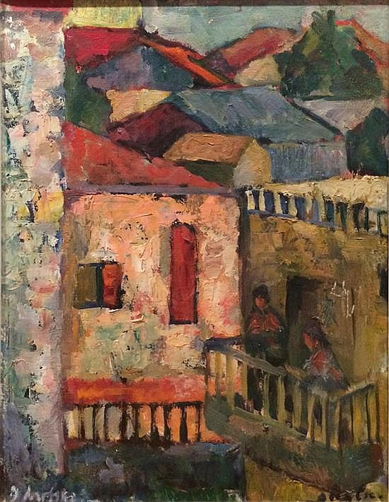 Isidor Ascheim 1891-1968 (Israeli) Urban landscape oil on canvas