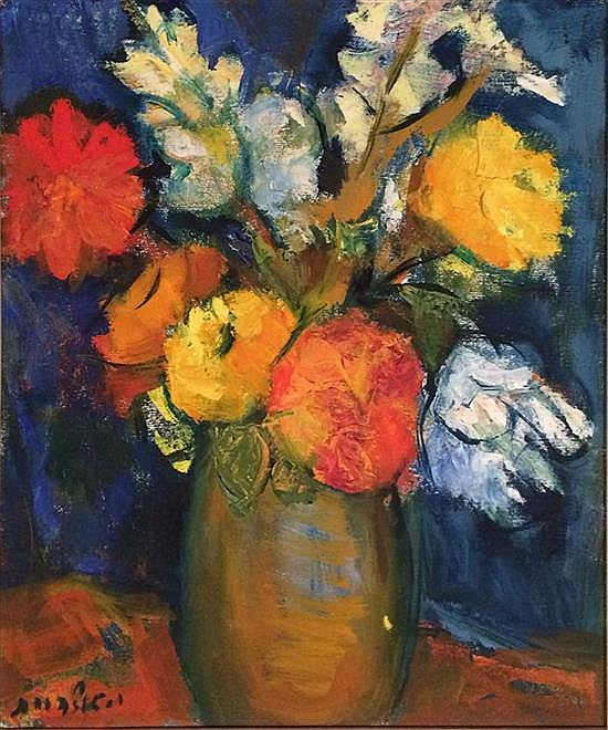 Isidor Ascheim 1891-1968 (Israeli) Vase of flowers oil on canvas