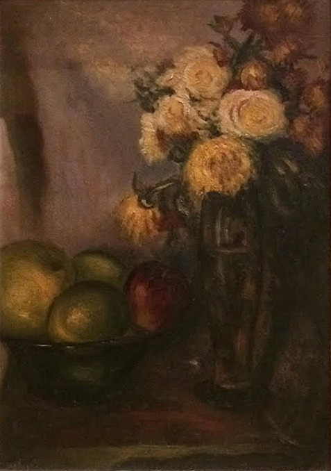 Yitzhak Amitai 1907-1984 (Israeli) Still life with flowers oil on cardboard