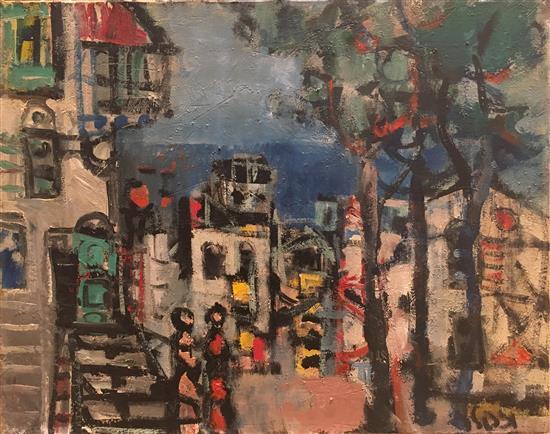 Yaacov Wexler 1912-1995 (Israeli) Figure in urban landscape oil on canvas