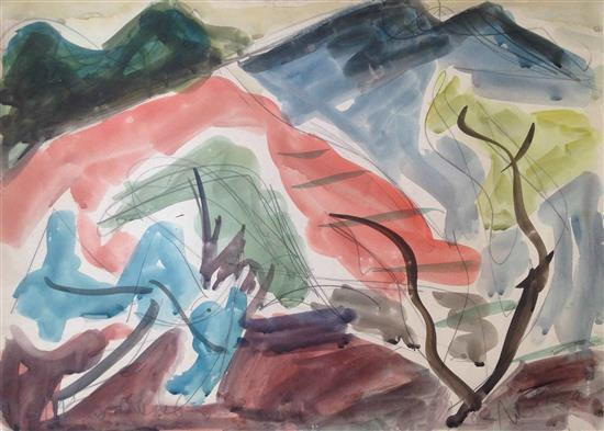 Shimshon Holzman 1907-1986 (Israeli) Galilee landscape watercolor on paper