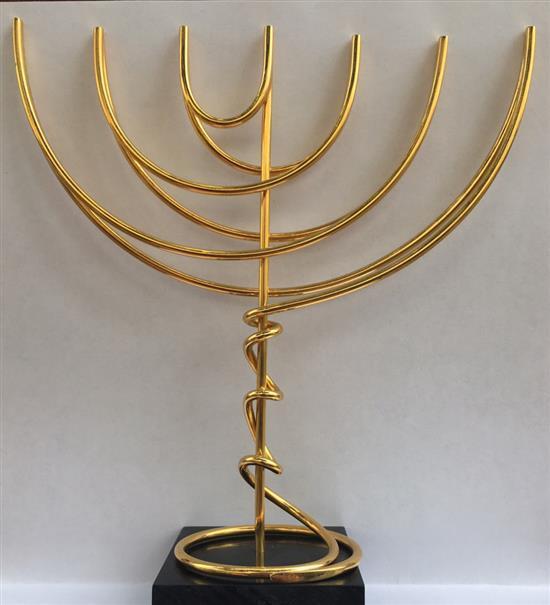 Yaacov Agam b.1928 (Israeli) Continual movement Menorah gilded metal
