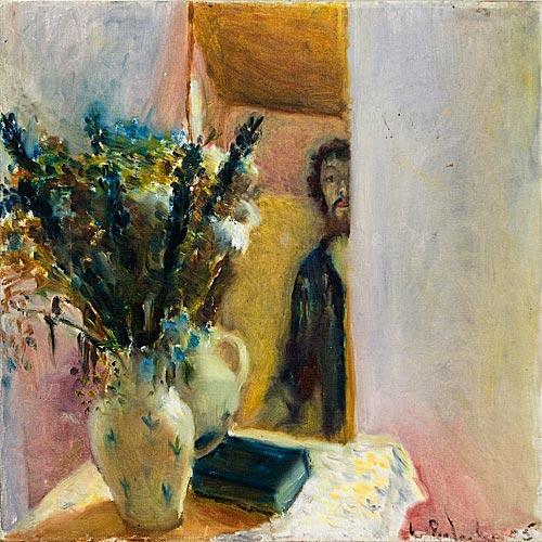**Leonid Balaklav b.1956 (Israeli) Self portrait with flowers oil on canvas