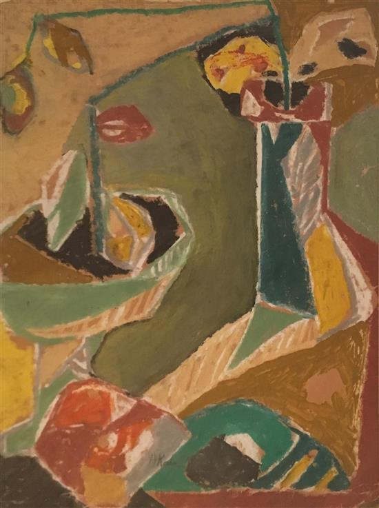 Aharon Kahana 1905-1967 (Israeli) Still life with flower vases, 1940's oil on brown paper