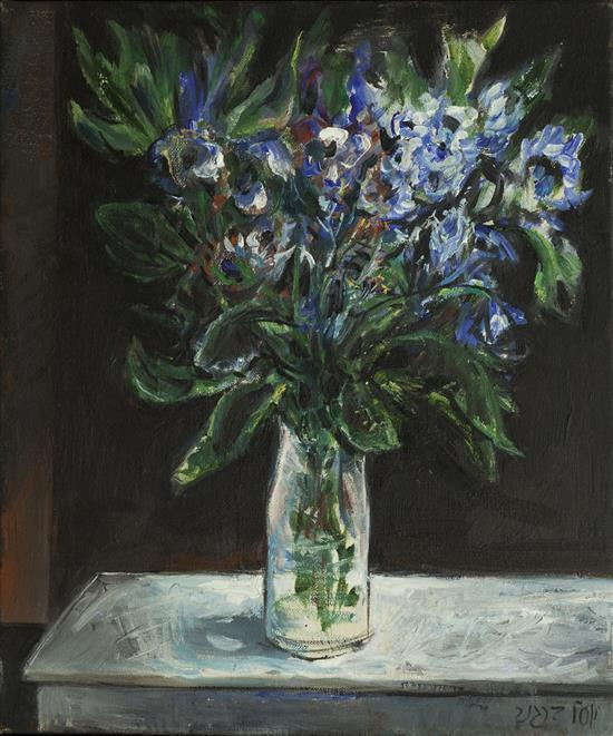 **Yosl Bergner b.1920 (Israeli) Blue flowers, 1970's oil on canvas