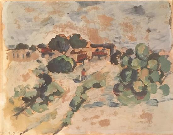 David Hendler 1904-1984 (Israeli) Village landscape with two figures oil on cardboard