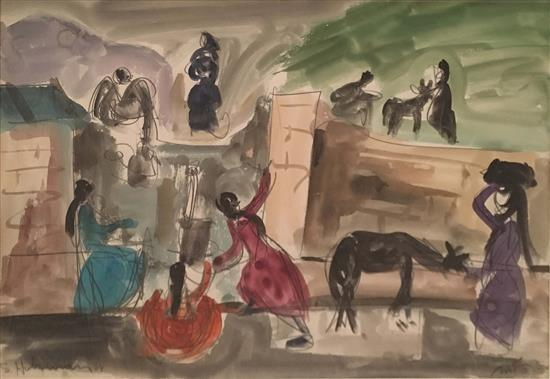 Shimshon Holzman 1907-1986 (Israeli) Women and donkeys, 1964 watercolor on paper