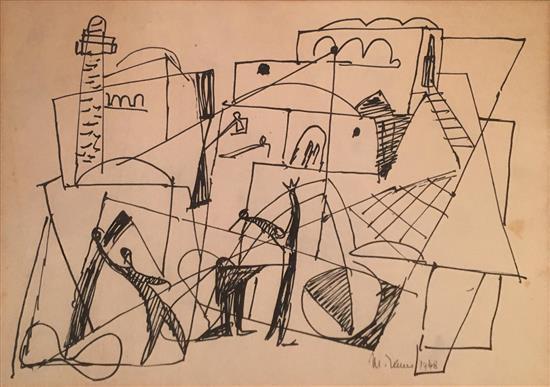 Marcel Janco 1895-1984 (Israeli) Jaffa, 1948 felt-tip pen on paper