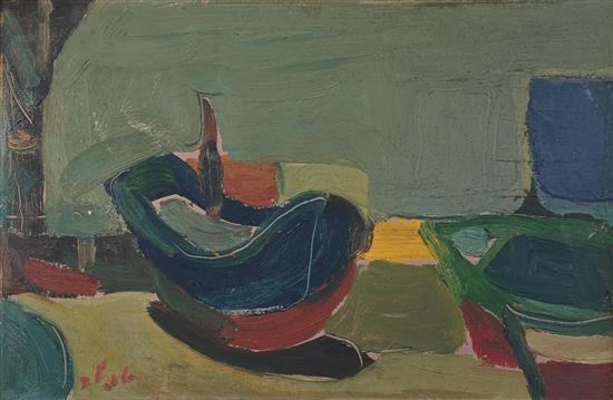 Shmuel Tepler 1918-1998 (Israeli) Boats oil on cardboard