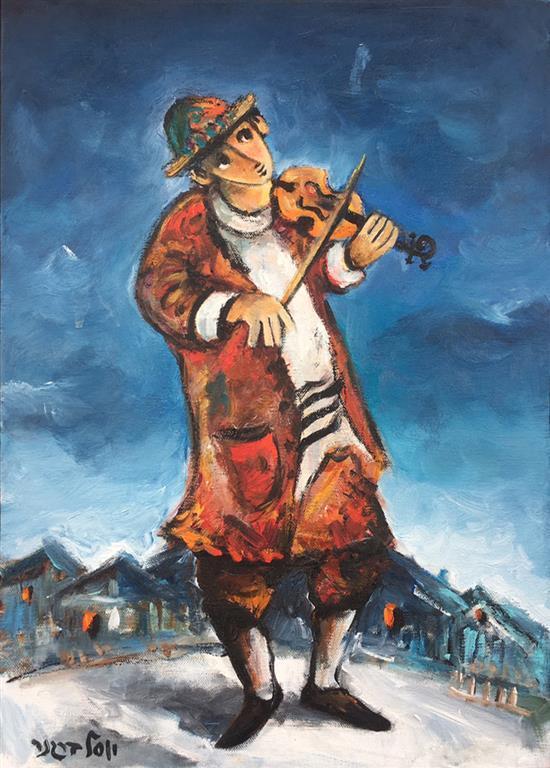Yosl Bergner b.1920 (Israeli) Fiddler in town oil on canvas