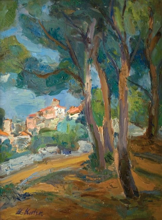 Leo Kahn 1894-1983 (Israeli) Village oil on canvas