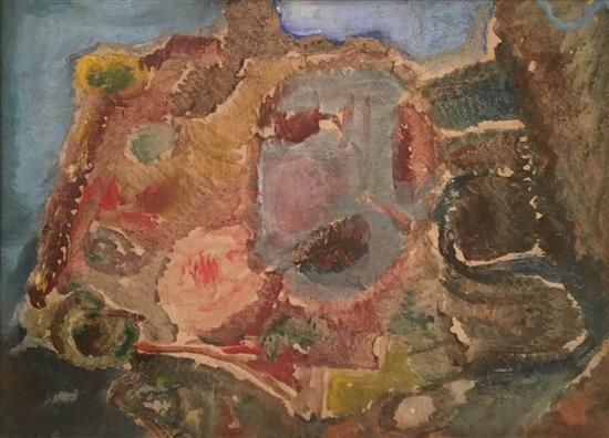 Mordechai Levanon 1901-1968 (Israeli) Landscape watercolor on paper