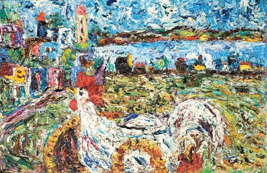 Amos Yaskil b.1935 (Israeli) Rooster in Tiberias, 1950's oil on canvas