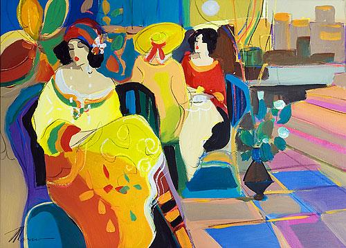 **Isaac Maimon b.1951 (French, Israeli) Coffee time acrylic on canvas