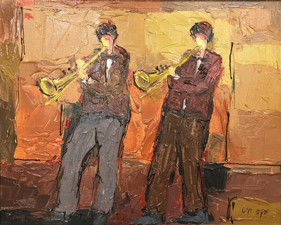 Jacob Chayat b.1939 (Israeli) Two trombonists oil on canvas