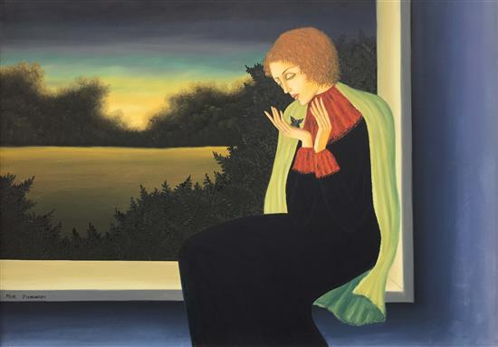Meir Pichhadze 1955-2010 (Israeli) Woman with a butterfly oil on canvas