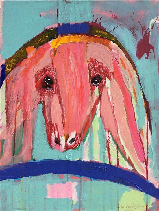 Menashe Kadishman 1932-2015 (Israeli) Sheep head on blue background acrylic on canvas