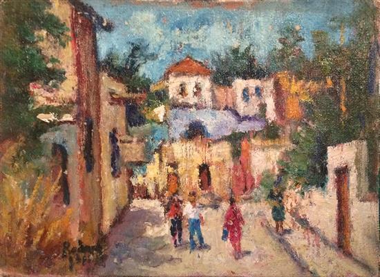 Jehuda Rodan 1916-1985 (Israeli) Street scene, Tel Aviv oil on canvas mounted on cardboard