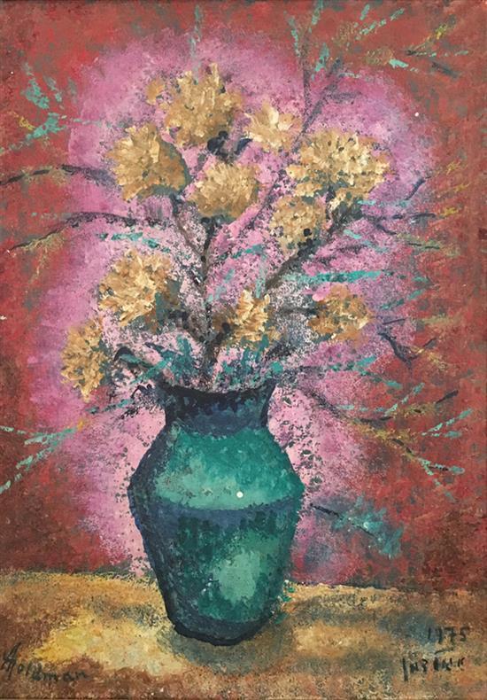 Albert Goldman b.1922 (Israeli) Flowers, 1975 oil on canvas