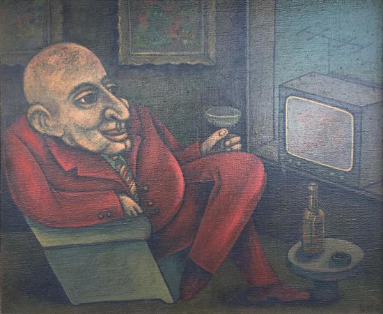 Dan Kedar 1929-2008 (Israeli) Man watching TV, 1978 oil on canvas