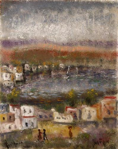 **Albert Goldman b. 1922 (Israeli) Lake Tiberias oil on canvas